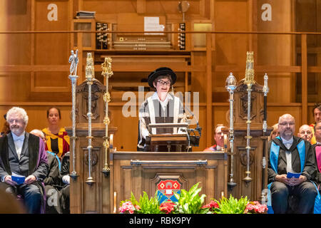 Principal and Vice-Chancellor Professor Sally Mapstone presiding over the June 2018 graduation ceremony of St Andrews University in the Younger Hall - Stock Photo
