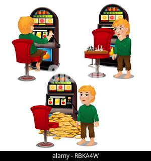 Young animated man playing chess and won a lot of money in slot machines isolated on white background. Vector cartoon close-up illustration. - Stock Photo