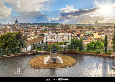 View on Rome city from Terrazza Viale del Belvedere. Italy - Stock Photo