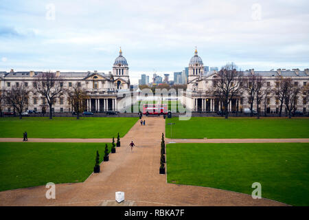 View of the National Marittime Museum gardens from the Greenwich Observatory hill - Greenwich, London - England - Stock Photo