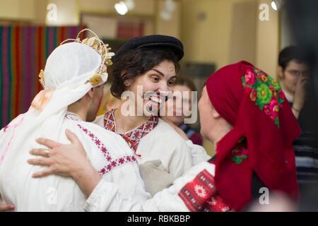Belarus, Gomel, November 24, 2018. Reconstruction of an ethnic old Belarusian wedding.Ukrainian wedding ceremony. - Stock Photo