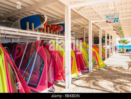 Rene Egli windsurfing centre on Sotavento beach, Fuerteventura, Canary Islands, Spain - Stock Photo