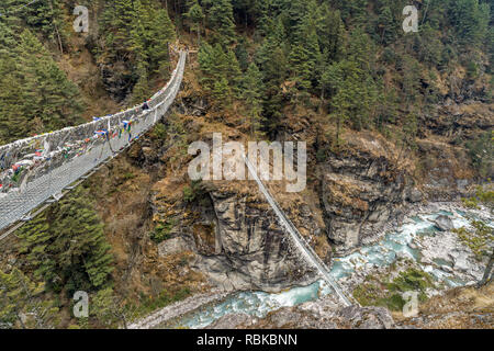Double Larja Bridge at the Dudh Koshi River on the way to the Everest base camp - Stock Photo