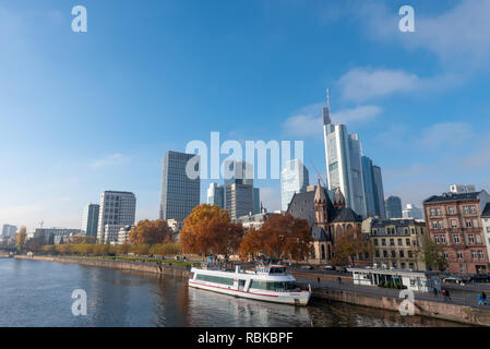 Financial Centre Frankfurt view from Main River. - Stock Photo
