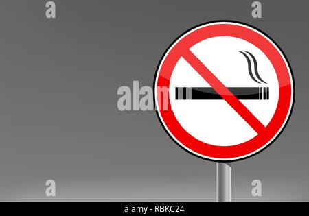 Smoking forbidden warning street sign vector graphic - Stock Photo