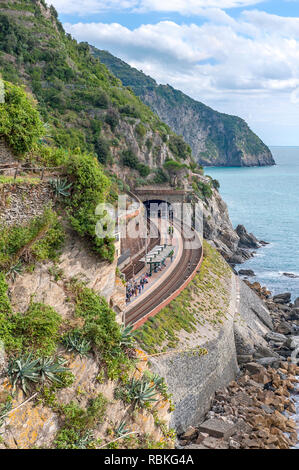 Coastal rail line and tunnel - Stock Photo