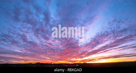 Colorful Skies At Dusk Over the Texas Open Spaces - Stock Photo