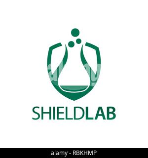 Shield Lab. Shield with laboratory icon flat logo concept design template idea - Stock Photo