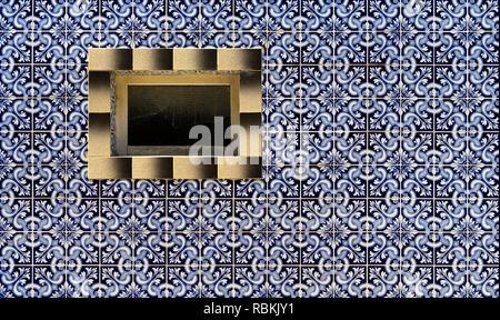 Decorative tiles at a residential building, Santa Luzia, Algarve, Portugal - Stock Photo