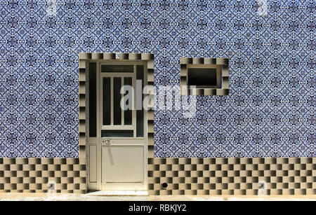 Decorative tiles at a residential building, Santa Luzia, Algarve, Portugal - Stock Photo