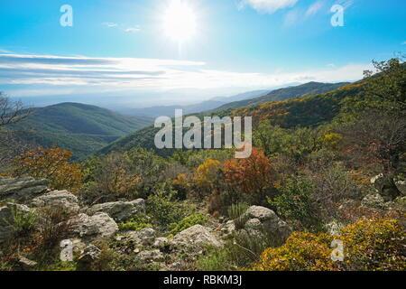 Spain landscape in Autumn from the Albera mountain range, Pyrenees, Catalonia, Alt Emporda - Stock Photo