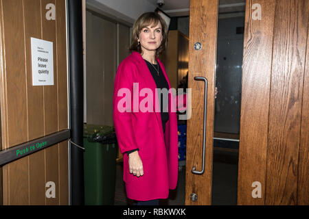Saint Lukes Church, Old Street, London, UK. 10th Jan, 2019. Fiona Bruce arrives at the venue to present her first recording of Question Time. Fiona Bruce became the first female to present the show replacing David Dimbleby after the broadcaster stepped down from the debate show after 25 years., England, UK Credit: Jeff Gilbert/Alamy Live News - Stock Photo