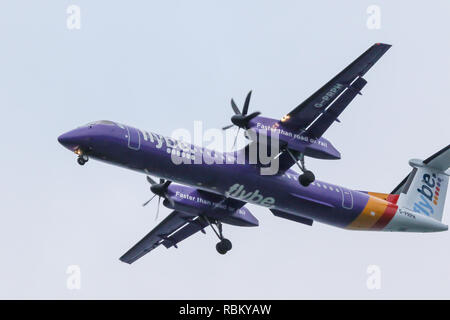 Belfast, Northern Ireland, UK. 10th January, 2019. Flybe aircraft coming in land at George Best City Airport. The following morning it was announced that Flybe, who had issued a profits warning back in October, was being bought by a consortium that included Virgin Atlantic, Stobart Group and others. Credit: David Hunter/Alamy Live News. - Stock Photo