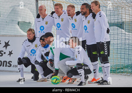 Arosa, Switzerland, 11th January 2019. The All Stars Team at the 9th unofficial Ice Snow Football World Cup 2019 in Arosa. Credit: Rolf Simeon/Alamy Live News - Stock Photo