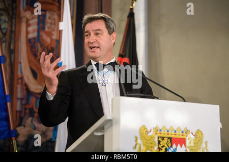11 January 2019, Bavaria, München: Markus Söder (CSU), Prime Minister of Bavaria, speaks at the New Year's Reception of the Bavarian State Government in the Residence. Photo: Matthias Balk/dpa - Stock Photo