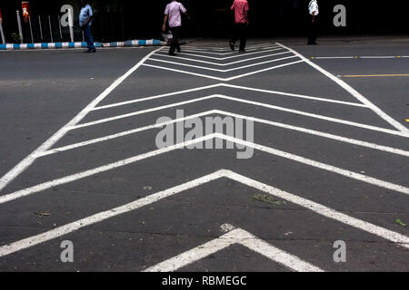 Zebra crossing in Park Street, Kolkata, West Bengal, India, Asia - Stock Photo