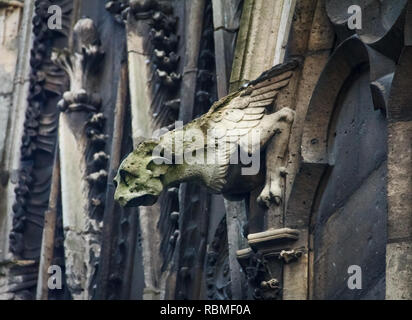 Gothic gargoyles covered in moss on the facade of the famous Notre Dame de Paris Cathedral in Paris France - Stock Photo