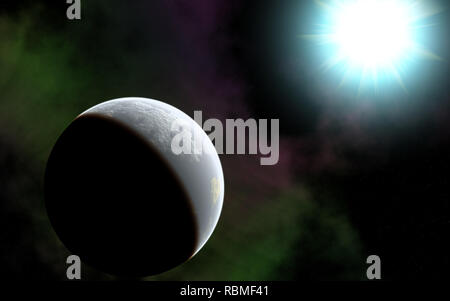Computer generated illustration of an Earth like planet with its young blue star as Sun. - Stock Photo