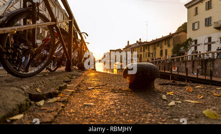 Sunset on the Naviglio Grande in the center of Milan Stock Photo
