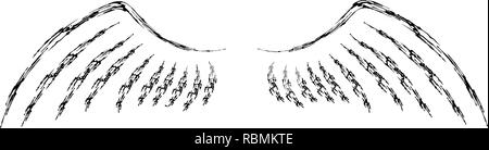 Original brush drawing of wings in black color. Vector illustration isolated on white. - Stock Photo