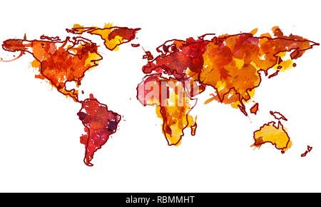2d hand drawn illustration of world map. Red yellow splash watercolor isolated earth planet. Sketch and doodle drawing continents. White background. - Stock Photo