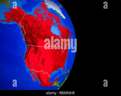 NAFTA memeber states on realistic model of planet Earth with country borders and very detailed planet surface. 3D illustration. Elements of this image - Stock Photo