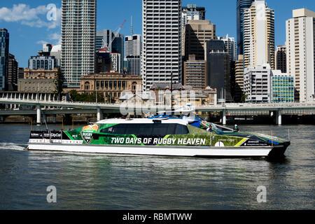 CityCat catamaran on Brisbane River, Brisbane, Queensland, Australia - Stock Photo