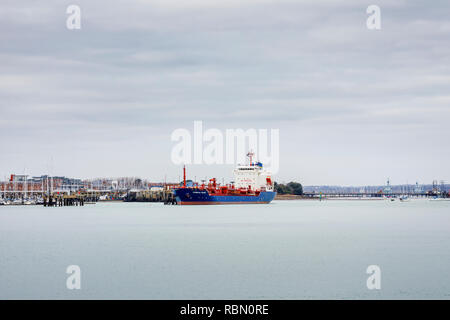 Cumbrian Fisher, a Bahamian registered Chemical/Oil Products Tanker, moored in Gosport, Portsmouth Harbour, Solent, south coast England, UK - Stock Photo