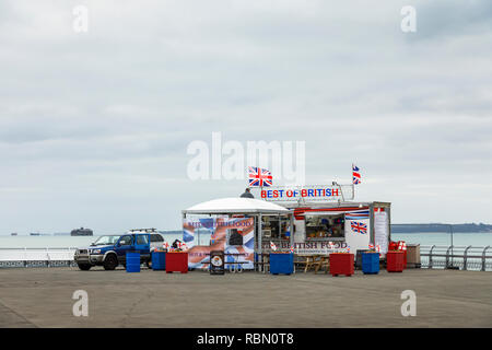 Best of British snack bar at the end of South Parade Pier, Southsea, Portsmouth, south coast England, UK in low season - Stock Photo