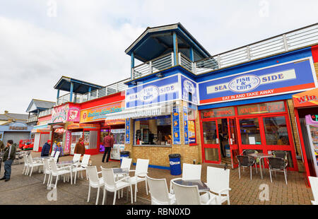 Southsea Island Leisure, a colourful family amusement arcade and fish & chip shop by Clarence Pier in Southsea, Portsmouth, UK - Stock Photo