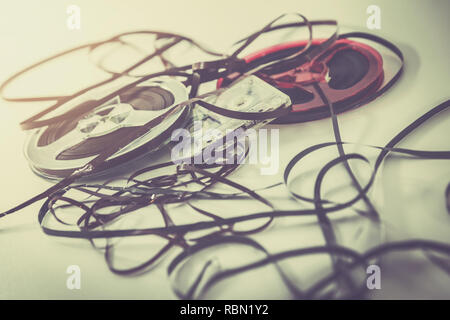 retro audio records - music cassette and reels - Stock Photo
