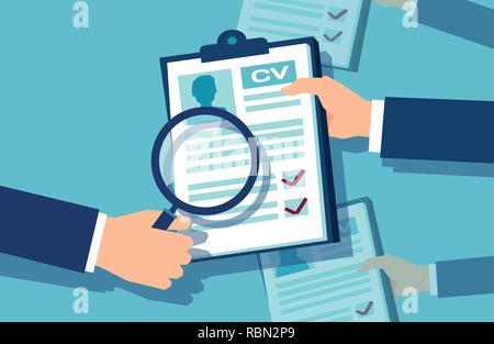 Vector of a businessman hands holding a magnifying glass reviewing papers with candidates information having interview - Stock Photo