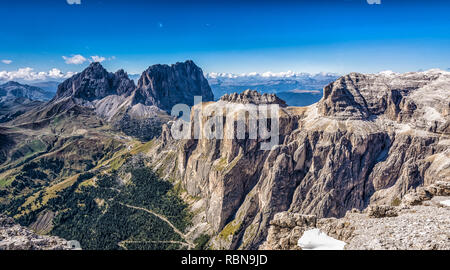 Marmolada mountain range seen from the Sass Pordoi plateau in Dolomites, Trentino Alto Adige, northern Italy, Europe - - Stock Photo