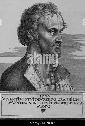 Philip Melanchthon (1497-1560). German Lutheran reformer collaboartor with Martin Luther. Portrait. Engraving, 1887 of Germania. - Stock Photo