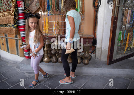 DOHA, QATAR - 4 AUGUST 18: Souq Wakif is one of the main traditional marketplace in Doha, Soft focus. Qatar - Middle east on August 4, 2018. - Stock Photo