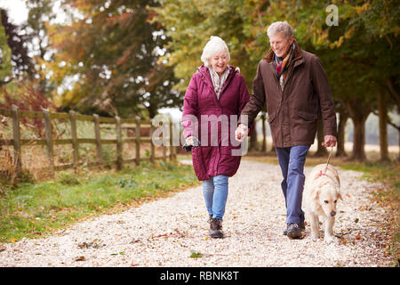 Active Senior Couple On Autumn Walk With Dog On Path Through Countryside - Stock Photo