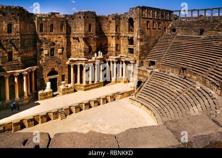 Roman Bosra theatre, Hauran Bosra. Syria, Middle East - Stock Photo