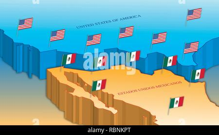 Usa and Mexico border map with national flags, vector illustration - Stock Photo