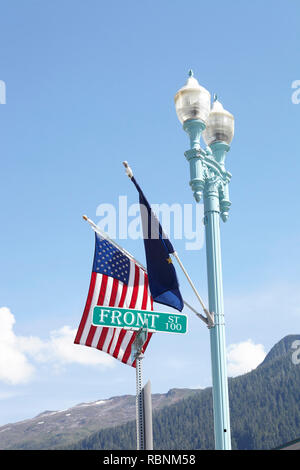 American And European Union Flags Flying From Lamp Post - Stock Photo