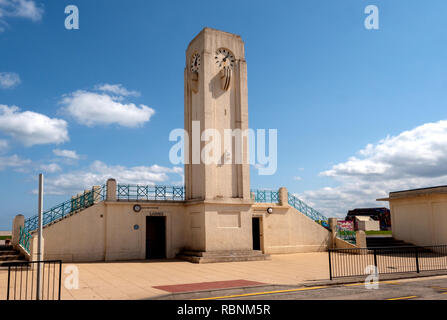 Art Deco seaside architecture - Clock Tower and public toilets, The Front, Seaton Carew, County Durham, England, UK. - Stock Photo
