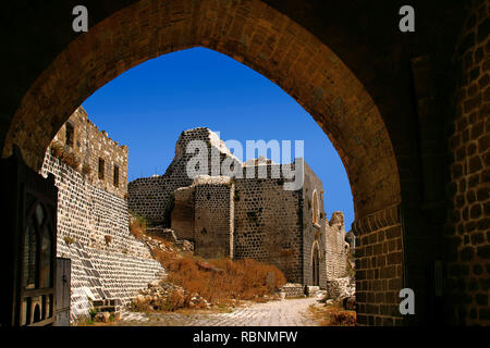 The Margat castle of the crusaders, entrance gate. Marqab, Syria, Middle East - Stock Photo