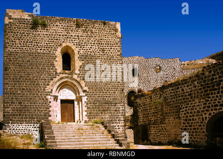 Chapel, The Margat castle of the crusaders, entrance gate. Marqab, Syria, Middle East - Stock Photo