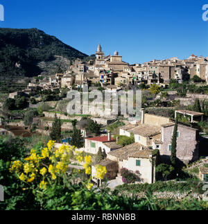 View of hilltop village of Valldemossa in spring, Majorca (Mallorca), Balearic Islands, Spain, Europe - Stock Photo