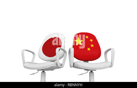 Japan and China business chairs. International relationship concept. 3D Rendering - Stock Photo