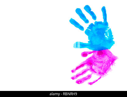 Colorful child's handprints isolated on white with copy space. World autism awareness day concept. - Stock Photo