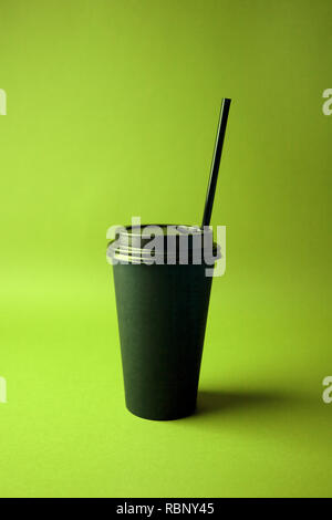 Black Coffee to go cup in vibrant bold gradient holographic colors. Concept art. Minimal hipster surrealism close up, coffee take away concept - Stock Photo