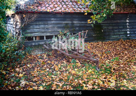 An old rusting plough next to a barn with a hole in its side with leaves on the ground in the English countryside during the season of autumn - Stock Photo