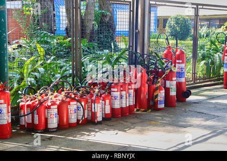 red fire extinguisher, Sao Paulo, Brazil - Stock Photo