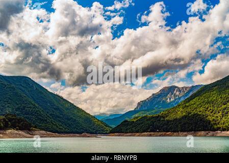 Piva river canyon in Montenegro, mountain landscape. - Stock Photo