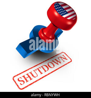 Government shutdown USA and United States closed or american federal shut down due to spending bill disagreement between the left and the right. - Stock Photo